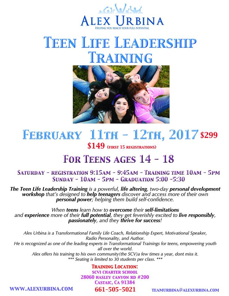 Teen Life Leadership Training February 11-12, 2017 at SCVi Charter School