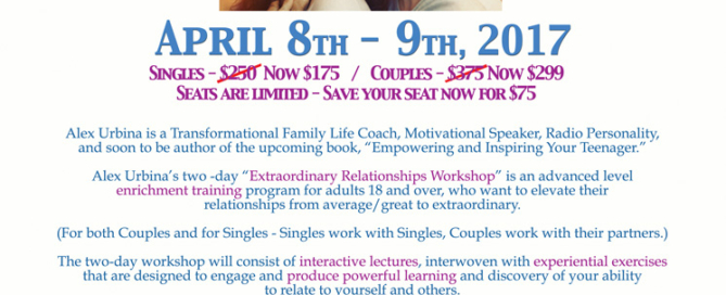 Extraordinary Relationships With Alex Urbina - SCVi Charter April 8-9
